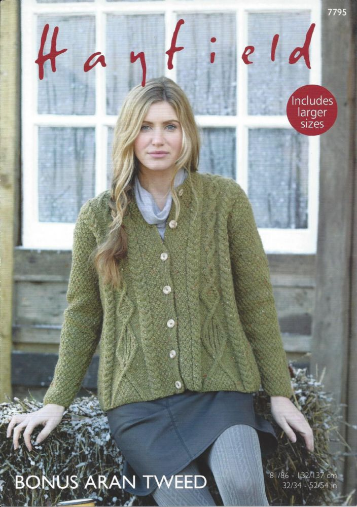 Hayfield Bonus Aran Tweed - 7795 Swing Coat Knitting Pattern